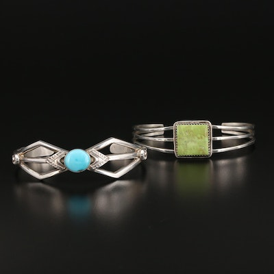 Southwestern Style Sterling Silver Cuffs Featuring Gaspeite and Turquoise