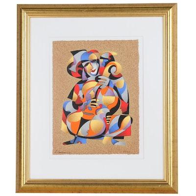 """Anatole Krasnyansky Serigraph, """"Cellist"""", 2001"""