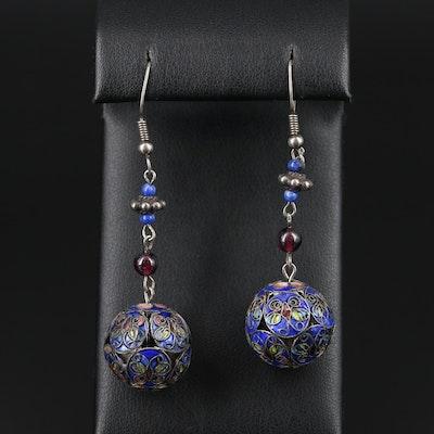 Sterling Silver Lapis Lazuli, Garnet, and Enamel Dangle Earrings