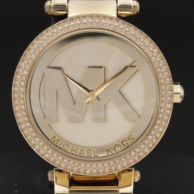 Michael Kors Parker Crystal Bezel Gold Tone Quartz Wristwatch