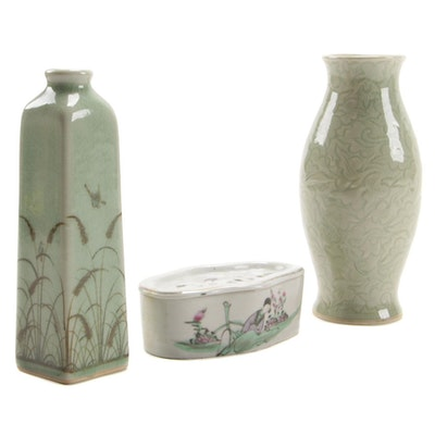 Siam Celadon Wood Ash Glaze Vases and East Asian Lidded Stoneware Box