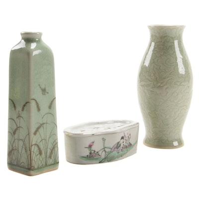 Siam Celadon Wood Ash Glaze Vases and East Asian Lidded Stoneware Box