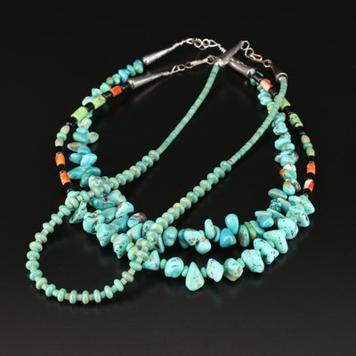 Southwestern Style Beaded Turquoise and Gemstone Necklaces With Sterling Clasps