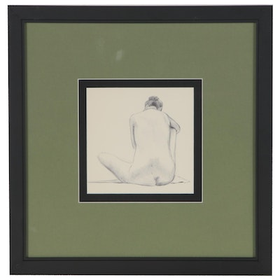 Susan Wohl Ink Drawing of Female Nude