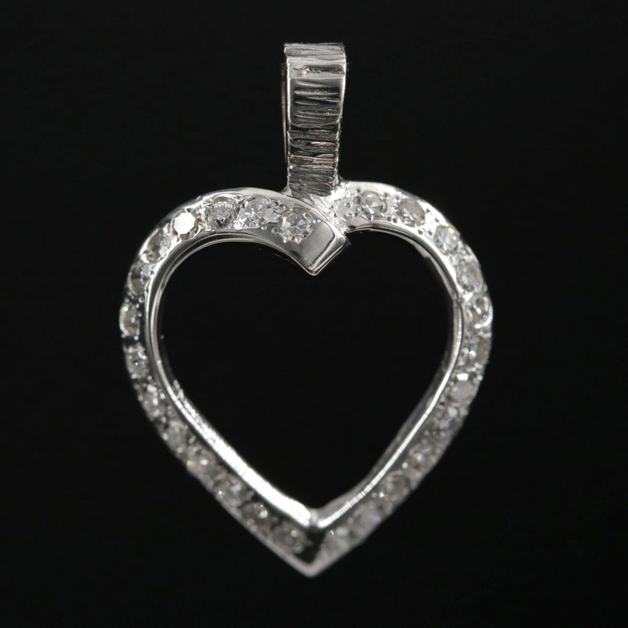 14K Gold Diamond Heart Pendant