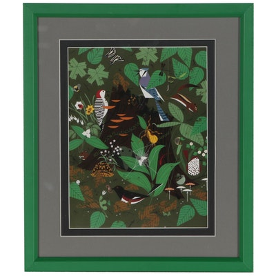 "Offset Lithograph after Charley Harper ""Woodland Wonders"""