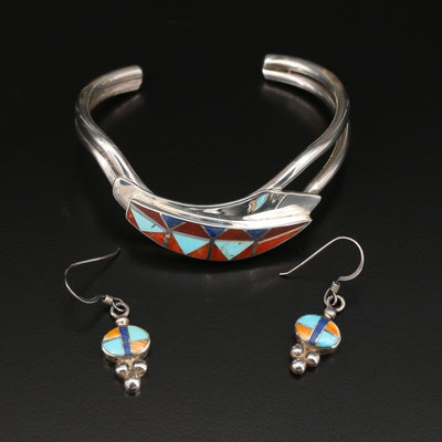 Southwestern Style Sterling Earrings and Cuff Set Featuring Gemstone Inlay