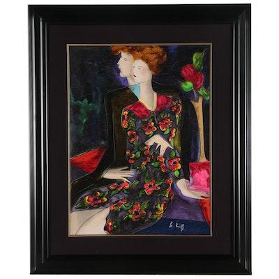 """Linda Le Kinff Embellished Serigraph """"Gaelle et Leopold"""", 1998"""
