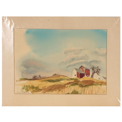 Farm Landscape Watercolor Painting, 1969