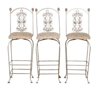 Metal Upholstered Swivel Barstools