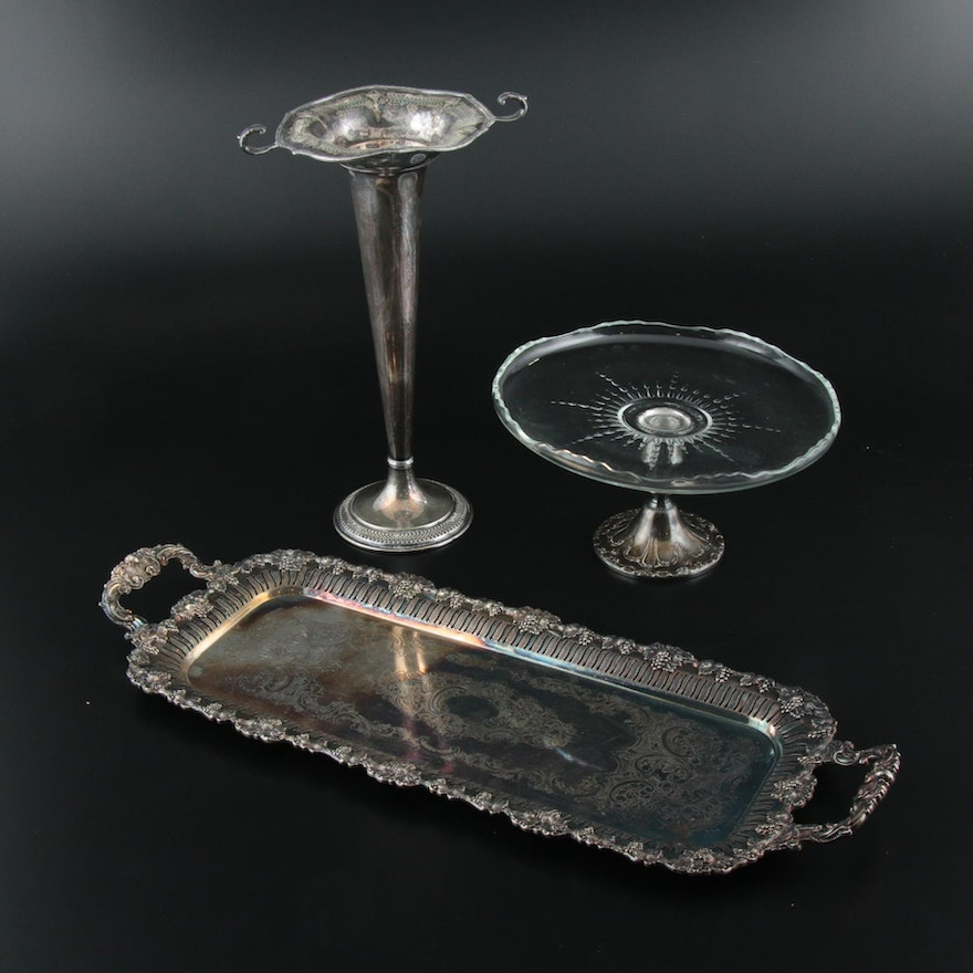 Gorham Silver Plate and Glass Cake Stand with Silver Plate Vase and Tray