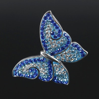 Sterling Silver Blue Glass Butterfly Pendant