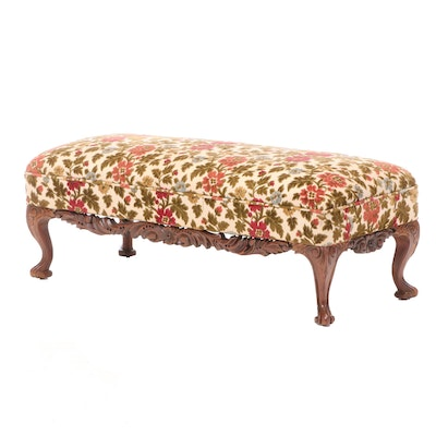 Carved Walnut Upholstered Bench, Late 20th Century
