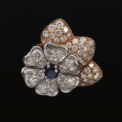 18K Gold Sapphire and 2.03 CTW Diamond Flower Pendant