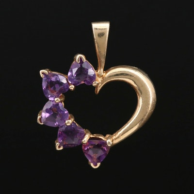 14K Gold Amethyst Heart Pendant