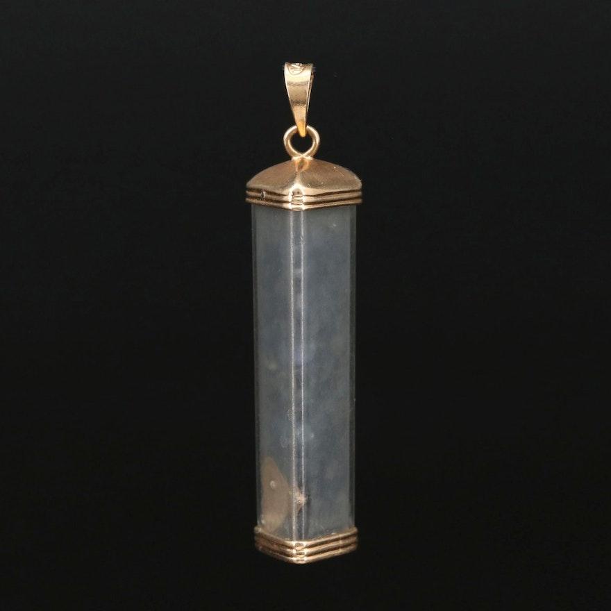 14K Gold Gemstone Capsule Pendant