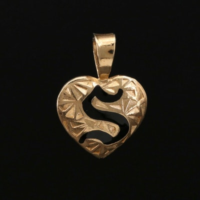 "14K Gold Monogram ""S"" Heart Pendant"