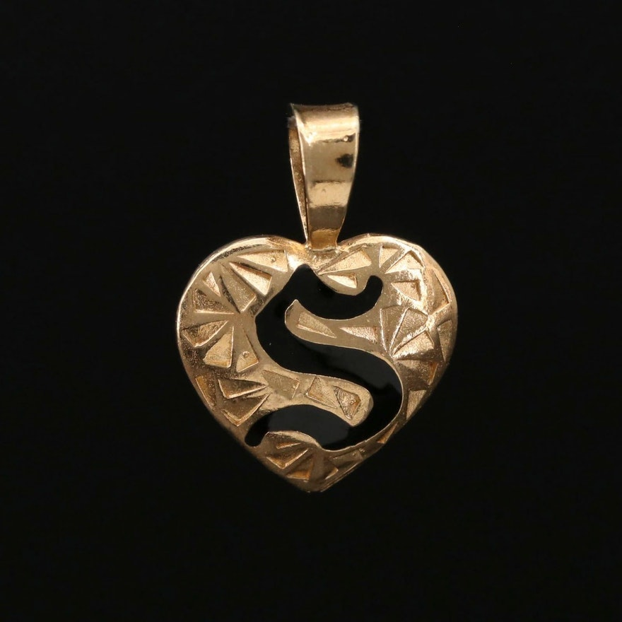 """14K Gold Monogram """"S"""" Heart Pendant"""