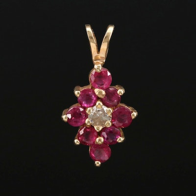 14K Gold Ruby and Diamond Pendant