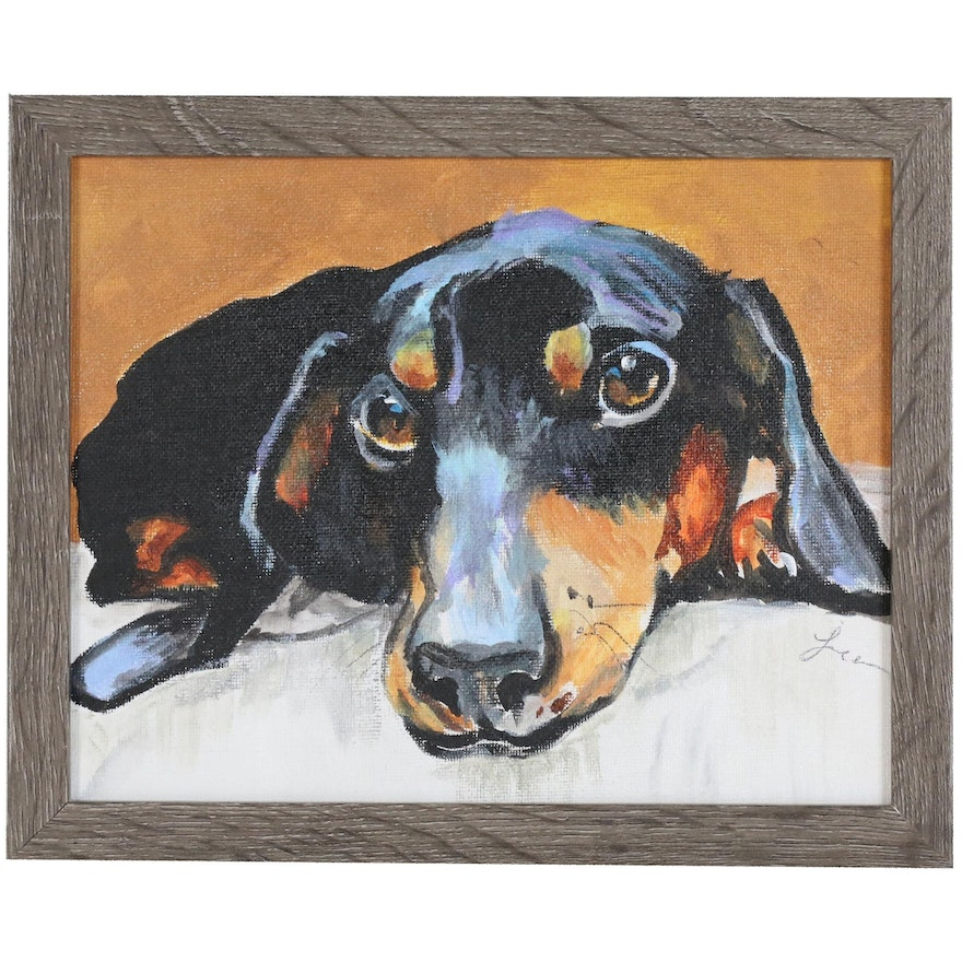 "C.J. Lee Acrylic Painting ""My Doxie"""