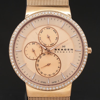 Skagen Glitz Multi function Gold Tone Quartz Wristwatch With Crystal Bezel
