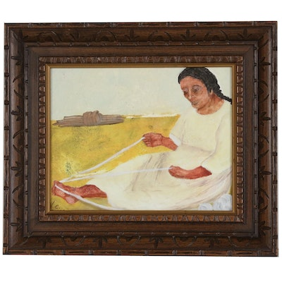 Naive Style Oil Painting of Woman with Yarn