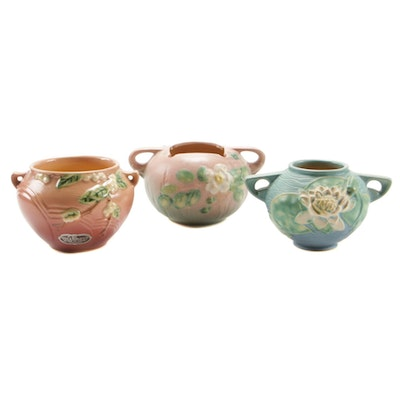 "Roseville Pottery ""Snowberry"", ""Water Lily"", and ""White Rose"" Jardinières"