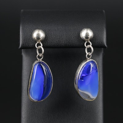 Sterling Silver Glass Drop Earrings