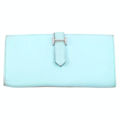 Hermès Bearn Light Blue Leather Continental Wallet