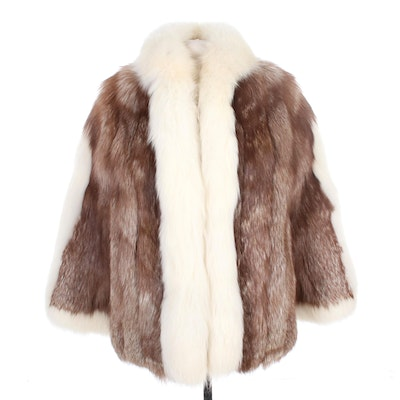 Crystal Fox Fur Open-Front Coat with Arctic Fox Trim