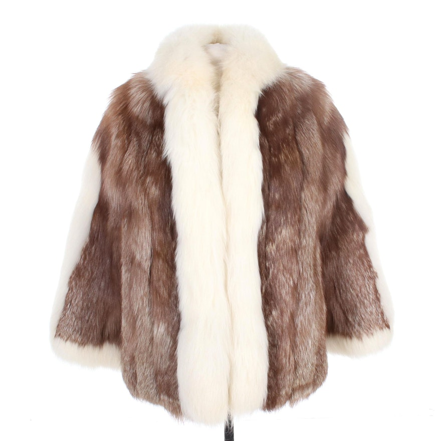 Crystal Fox Fur Open-Front Coat with Arctic Fox Trim