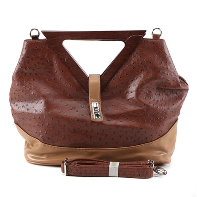 MC Collection Ostrich Embossed Two-Tone Leather Handbag with Detachable Strap