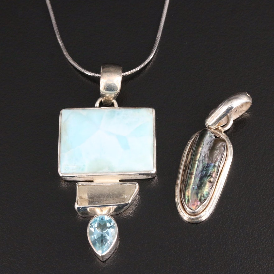 Sterling Silver Pendant Necklace and Pendant Featuring Abalone and Gemstones