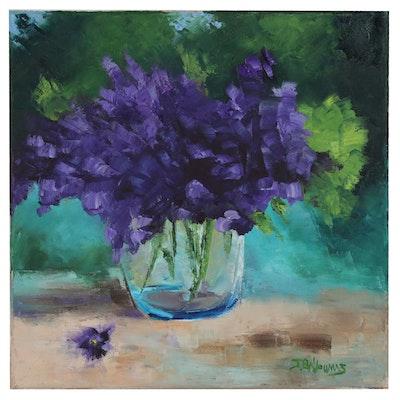 """James Baldoumas Floral Oil Painting """"Purple Bouquet"""""""