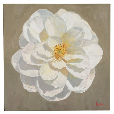 "Peter Lentini Floral Oil Painting ""Camellia"""