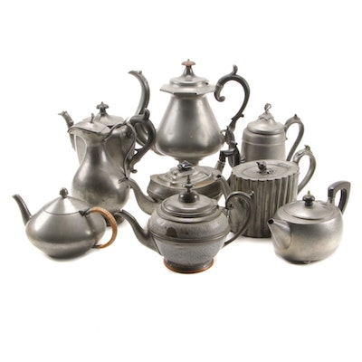 Pewter Teapot and Coffee Pot Assortment Including Enameled Teapot