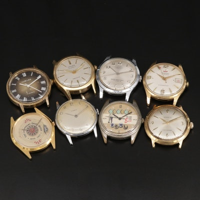 Assortment of Eight Stem Wind and Quartz Watches for Parts