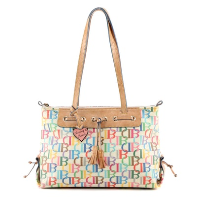 Dooney & Bourke Signature Multicolor Coated Canvas and Leather Shoulder Bag