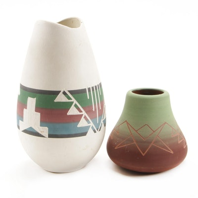 Kate Dismounts Lakota Sioux Pottery Vessels, Mid to Late 20th Century