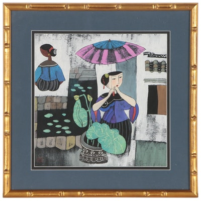 Contemporary East Asian Gouache Painting of Woman with Umbrella