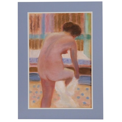 Pastel Figure Drawing of Female Nude