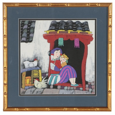 Contemporary East Asian Gouache Painting of Mother and Child with Chickens