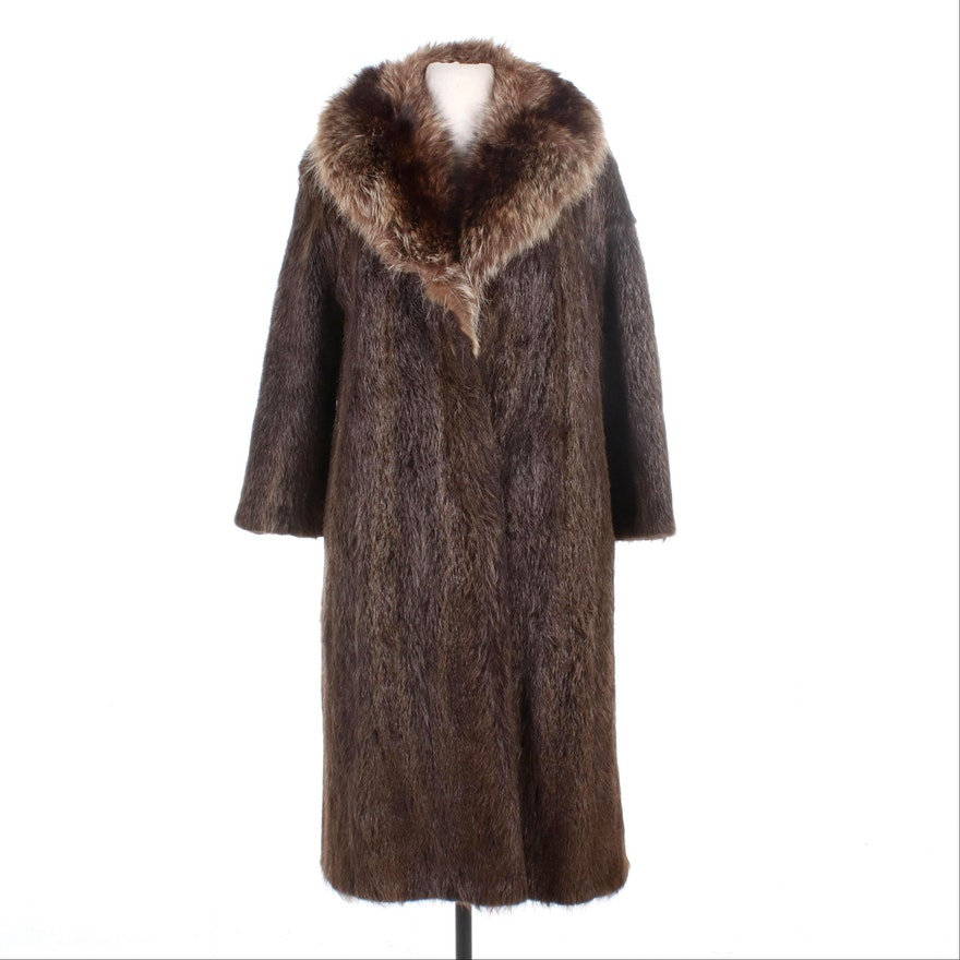 Beaver Fur Coat with Raccoon Fur Shawl Collar by David Hochstein