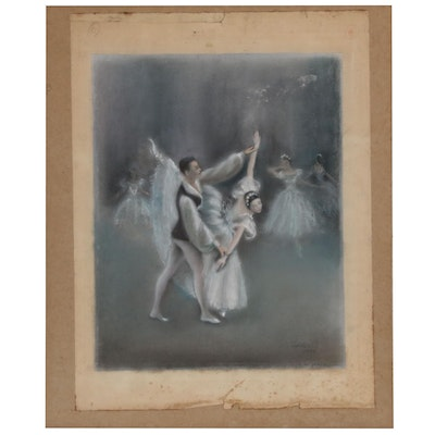 Pastel Drawing of Ballet Dancers, Mid 20th Century