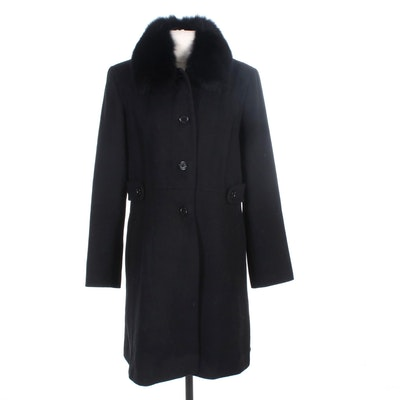 Black Wool Blend Coat with Fox Fur Collar by Forecaster of Boston