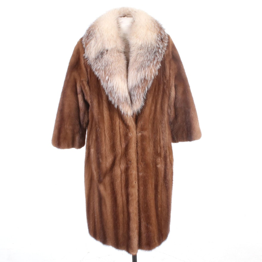 Mink Fur Coat with Crystal Fox Fur Collar By Robert Lord Fourrures, Vintage