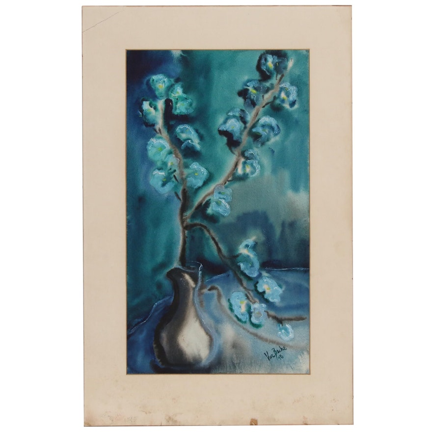 Ver Becke Floral Still Life Watercolor Painting, Mid 20th Century
