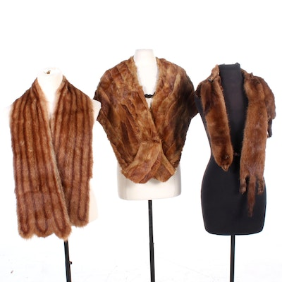 Scalloped-End Dyed Muskrat Fur Wrap, Squirrel and Full-Pelt Marten Fur Stoles