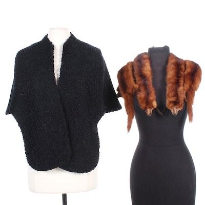 Black Curly Lamb and Full Pelt Marten Fur Stoles, Mid-20th Century