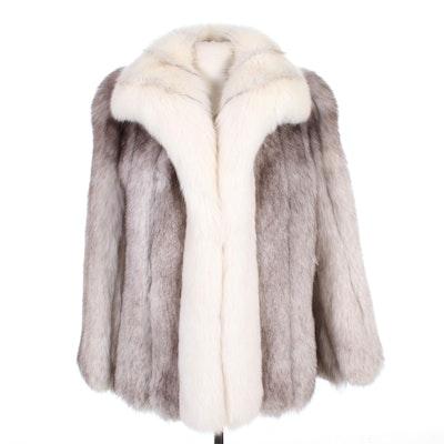 Crystal Fox Fur Coat with Arctic Fox Tuxedo Collar